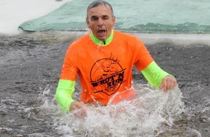 County Administrator Brad Karger takes The Udder Plunge in Athens - 2016