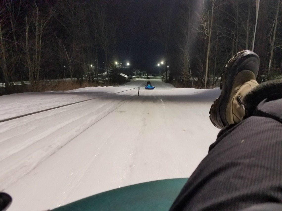 View from Katie Rosenberg's GoPro camera as she makes her way up Sylvan Tubing Hill via the motorized tow wire