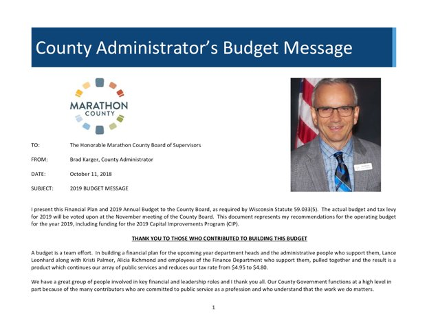 2019 CountyAdministratorBudgetMessage