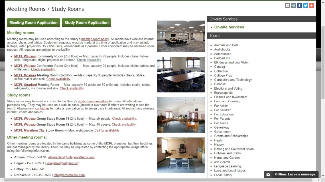 library meeting spaces screen capture