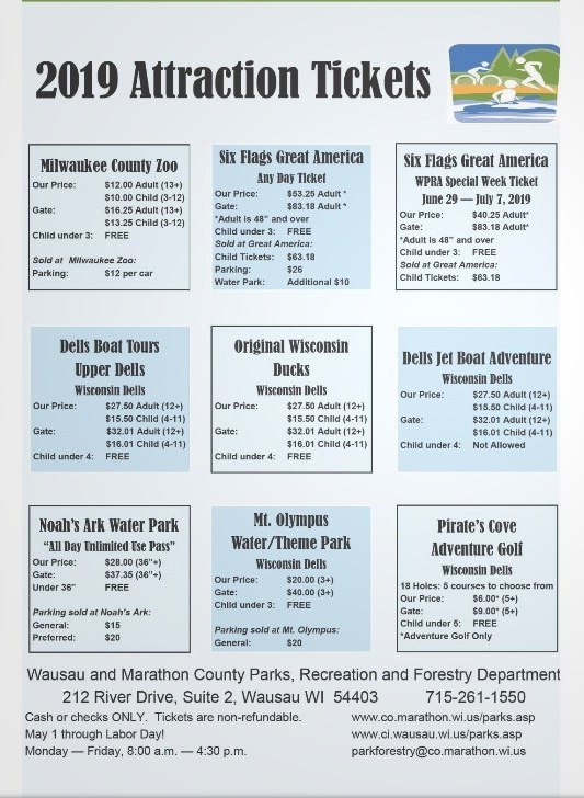 Attraction Tickets page of Recreation Guide