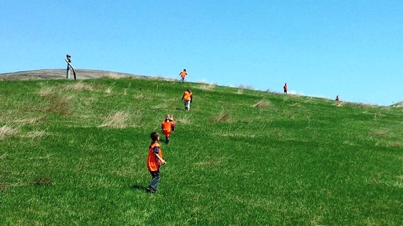 Scouts playing on hillside at MCSWD