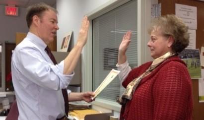 Nan Kottke being sworn in as County Clerk
