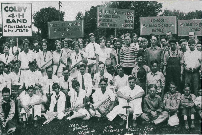Marathon County 4-H members, including those from the Colby 4-H Band, pose for a group photo at the Wisconsin Valley Fair in 1929.