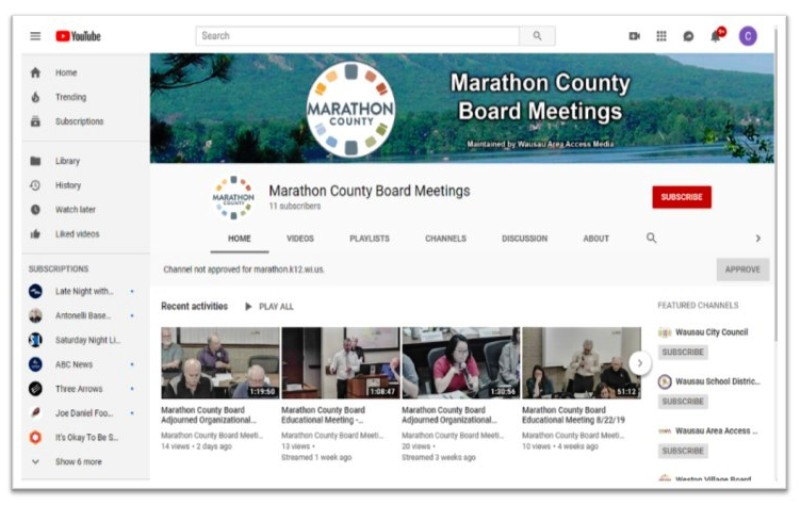 Screen Capture of County Board Meeting YouTube Channel