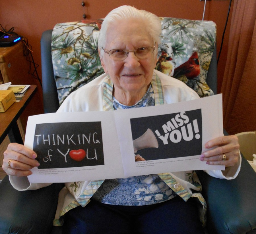 Mount View Care Center resident with card