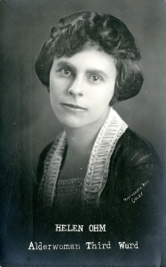 Helen Ohm, portrait, front of postcard