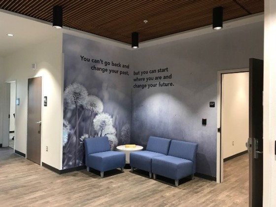A warm, welcoming lobby to the Youth Behavioral Health Hospital at North Central Health Care in Wausau.