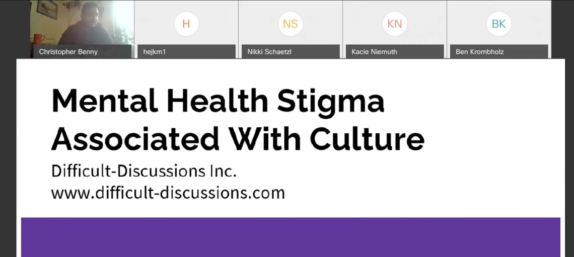 Difficult Discussions Mental Health Stigma screen capture