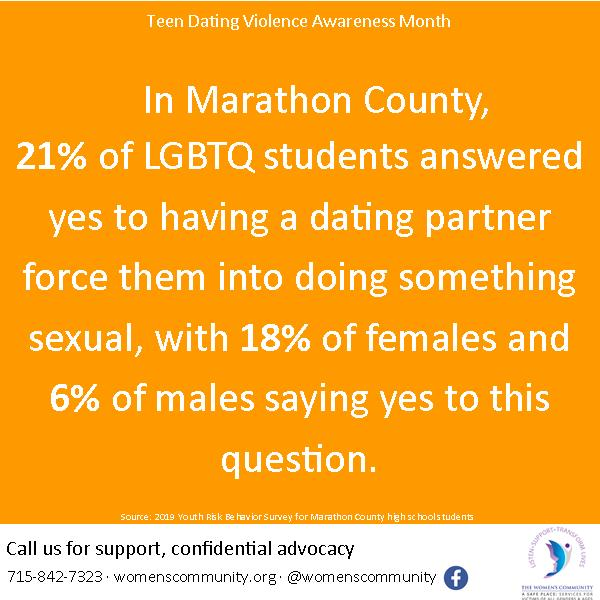 teen dating violence statistic for Marathon County