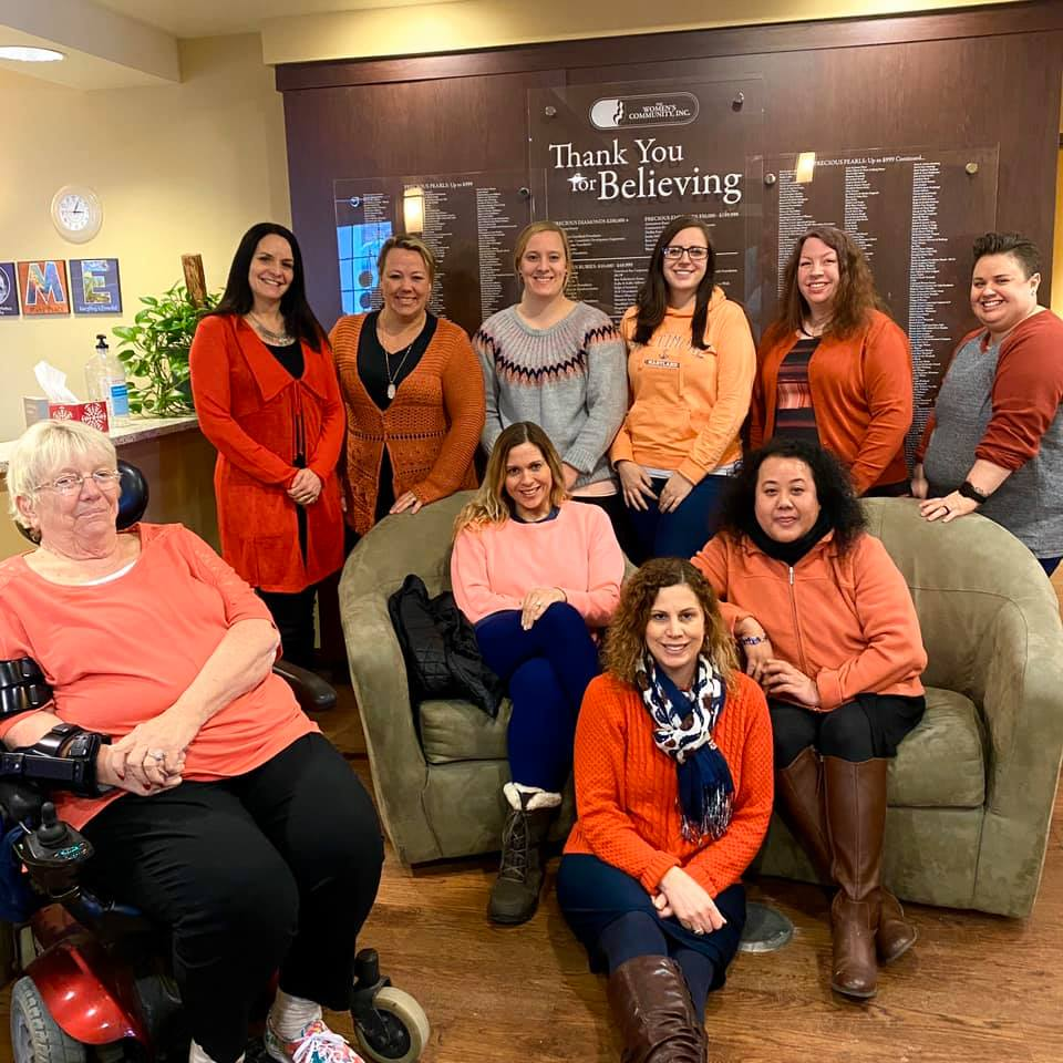 TWC staff wearing orange for teen dating awareness month